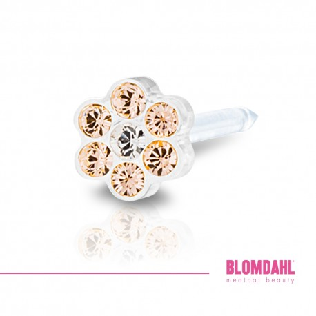 BLOMDAHL kolczyk przekłuciowy Daisy Golden Rose/Crystal 5mm
