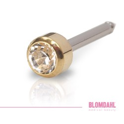 BLOMDAHL kolczyk przekłuciowy Bezel Crystal Long 4mm złoty