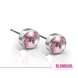BLOMDAHL kolczyki hipoalergiczne Bezel Light Rose (C) 5mm srebrne